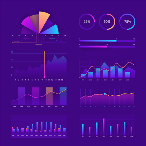 Colorful Charts UI Kit Vector