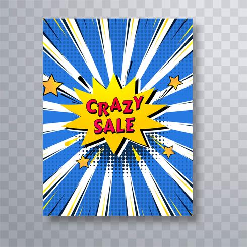Crazy sale comic book färgglada pop art broschyr mall backgro
