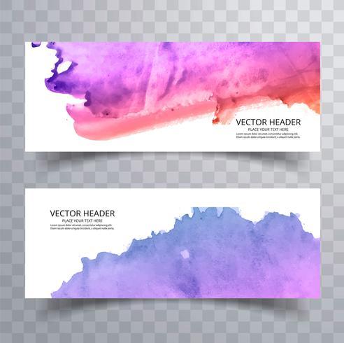 Beautiful watercolor colorful banners set design