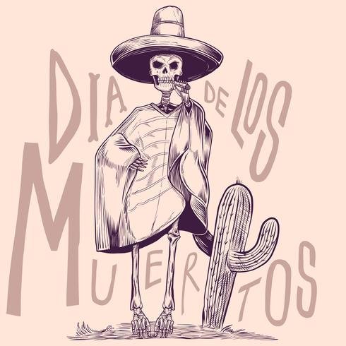Squelette, dans, les, national mexicain, costumes, à, cactus, vintage, gravure, illustration