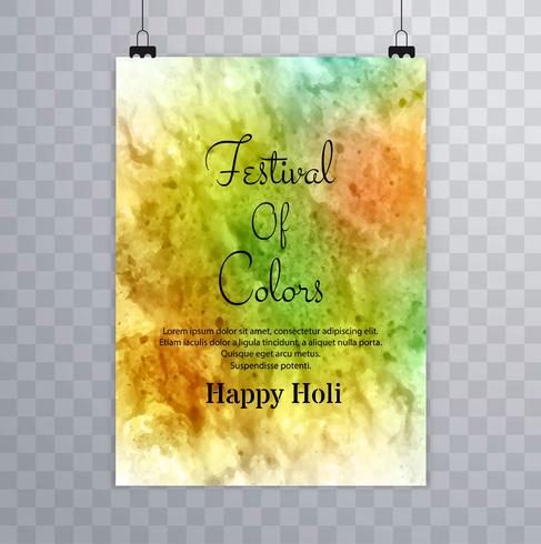 Beautiful texture brochure colorful celebration indian holi card