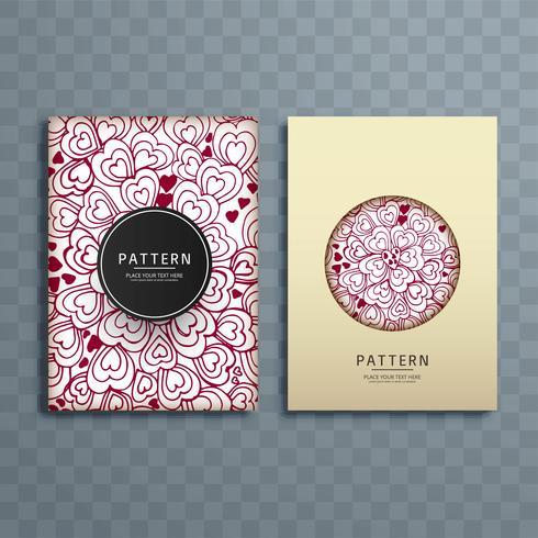 Abstract hearts  pattern brochure design illustration