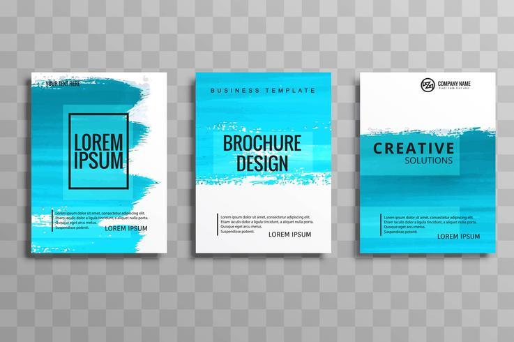 gesetztes Design der abstrakten Aquarellart-Broschüre im Blau