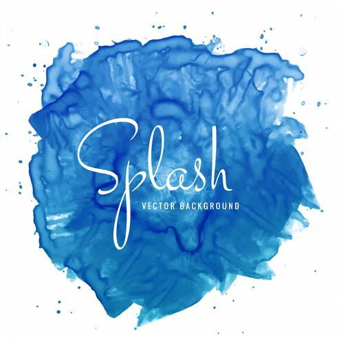Beautiful hand paint watercolor blue splash on white background  vector