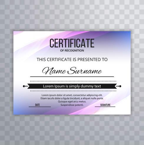 Zertifikat Premium-Vorlage Auszeichnungen Diplom bunte Welle Design