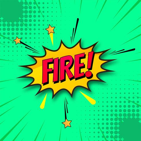 Fire comic book green background vector