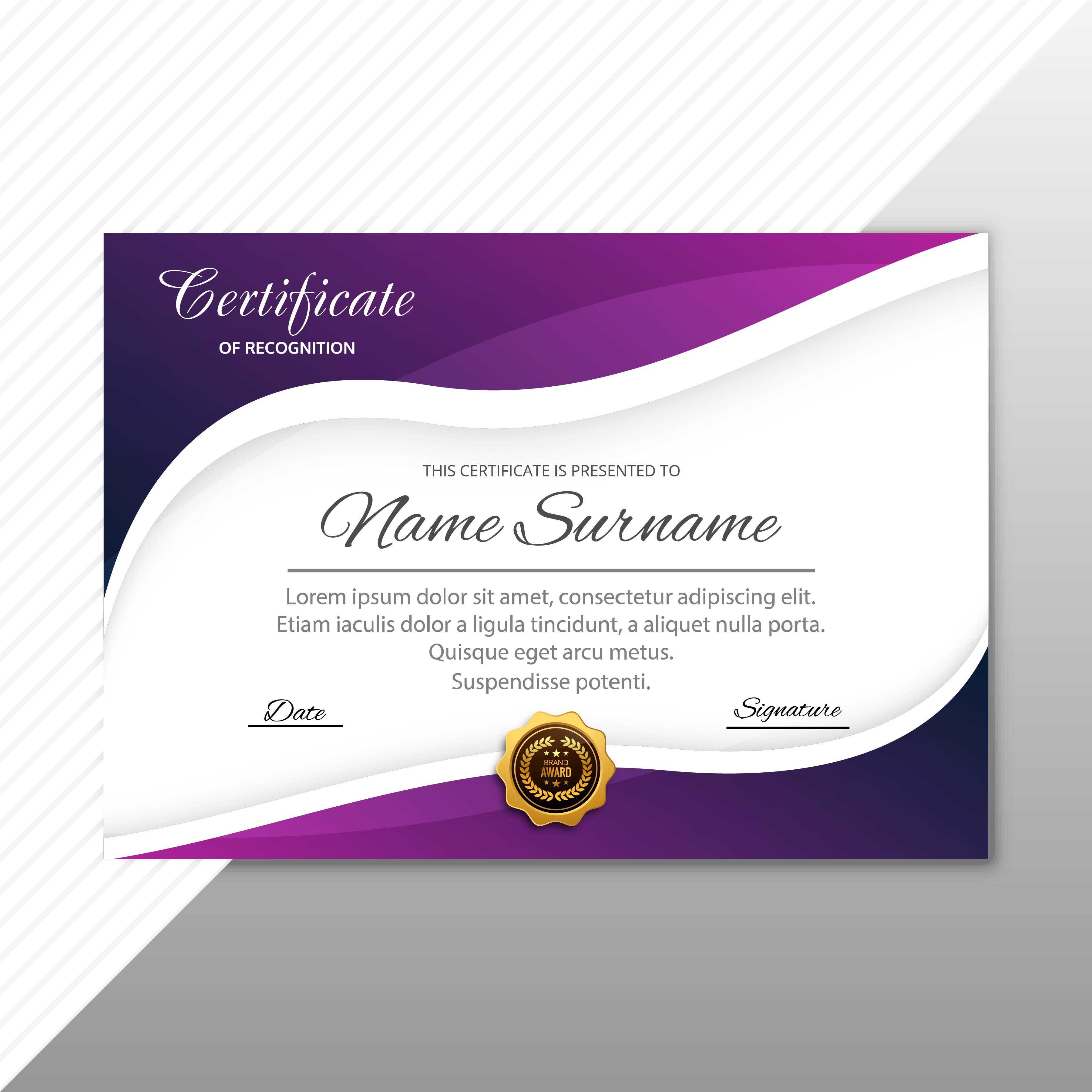 Abstract stylish certificate diploma template with wave ...