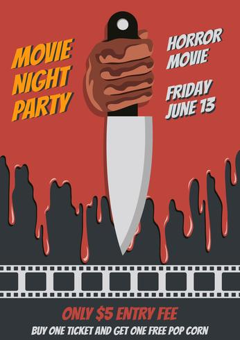 Noche de cine cartel ilustración
