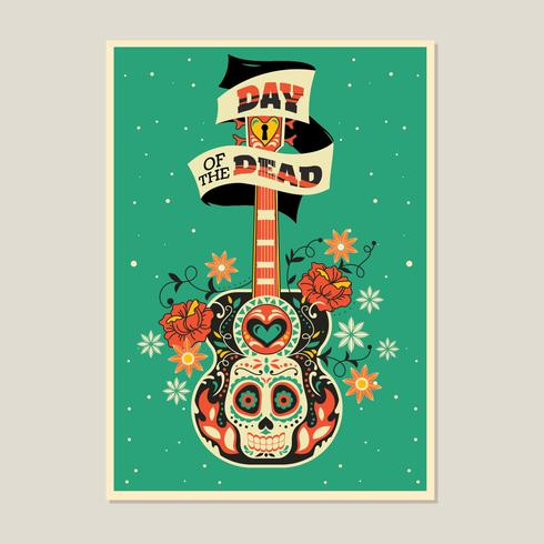 Esqueleto colorido con fondo de guitarra para el día de los muertos vector
