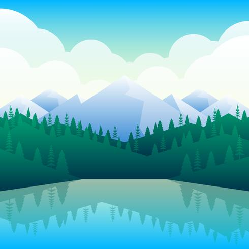 Berg Landskap Landsbygden Natur Bakgrund Hills Skyline Illustration