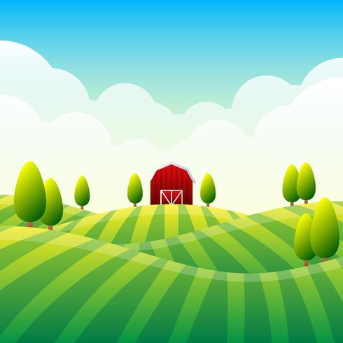 Ländliche panoramische Landschaft mit einer schönen Ansicht der entfernten Feld-Illustration vektor