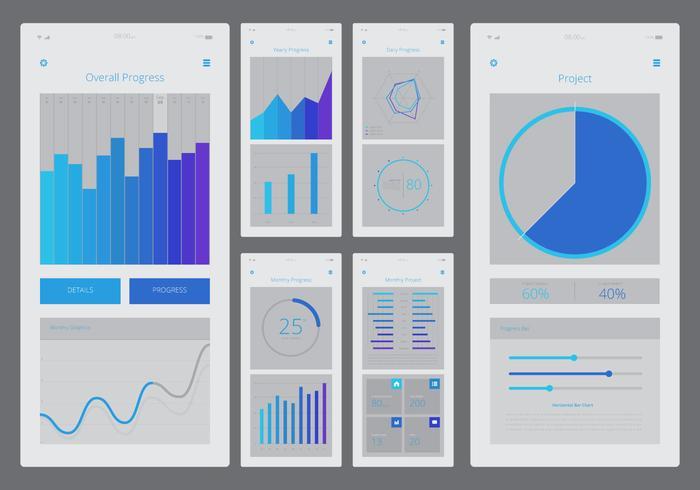 Charts UI Kit mobiele elementenset