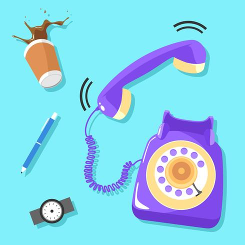Belted Purple Rotary Telephone Vector