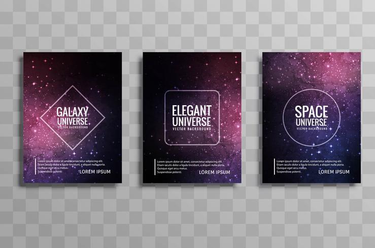 Bunter Geschäftsbroschüren-Designsatz der schönen Galaxie