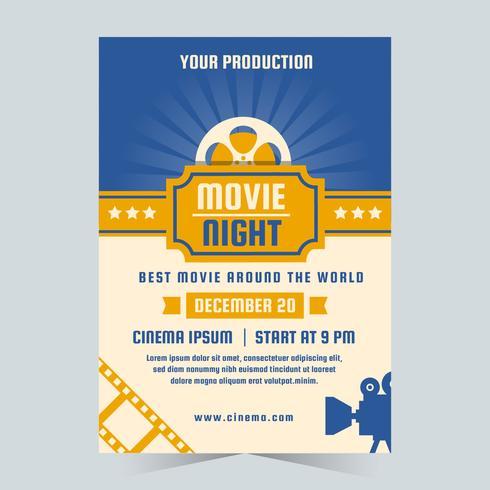 Affiche de film nuit vecteur