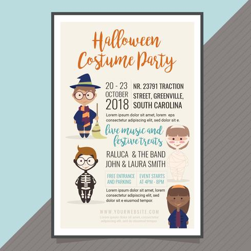 Vector Halloween kostuum partij Poster