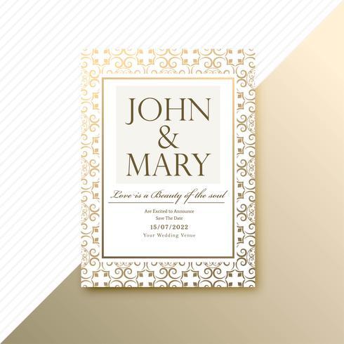 Carte d'invitation de mariage décoratif et modèle de carte d'invitation vect