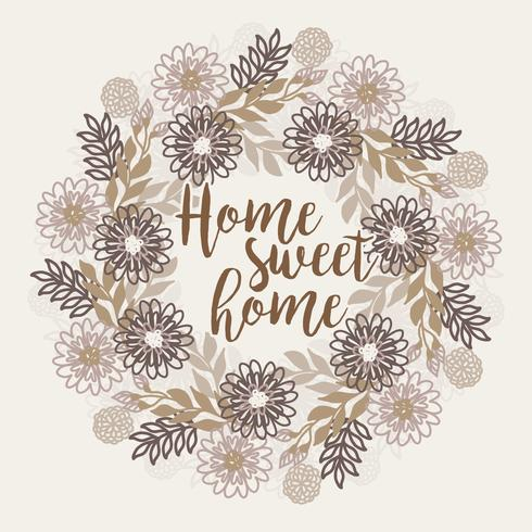 Vector Home Sweet Home Floral Wreath