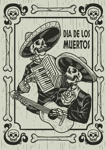 Día de la ilustración del cráneo muerto vector