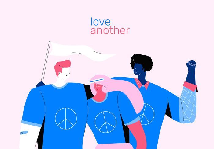 Activist die zich voor de Vlakke Illustratie van de Vrede en van de Liefde bevindt