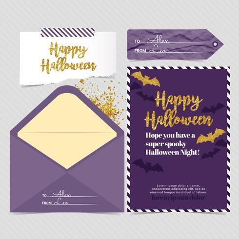 Vector gouden en paarse Halloween-kaart