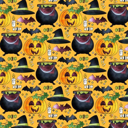 Vector Cute Halloween Seamless Pattern