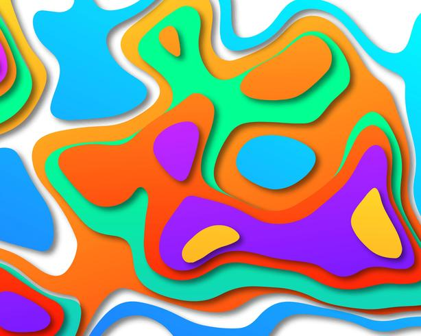 Multicolor paper layers 3D papercut with gradient background