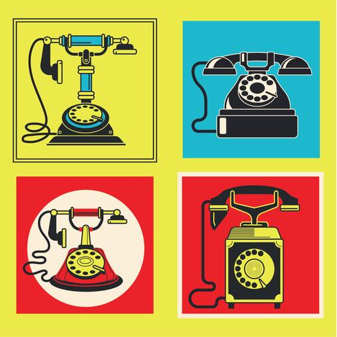 Set of Retro Telephones Illustration with Vintage Candlestick and Rotary Dial Phones vector