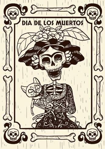 Día de la calavera muerta con ilustración de gato
