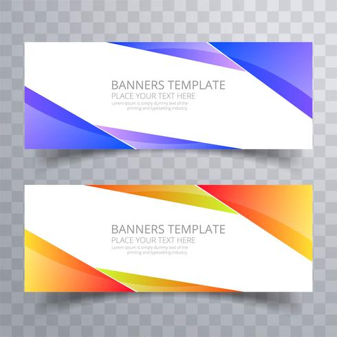 Modèle de conception de jeu de bannières colorées vague abstraite