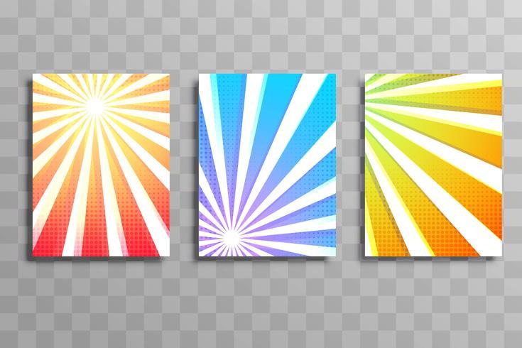 Abstract kleurrijk het malplaatje vastgesteld ontwerp van de stralen bedrijfsbrochure