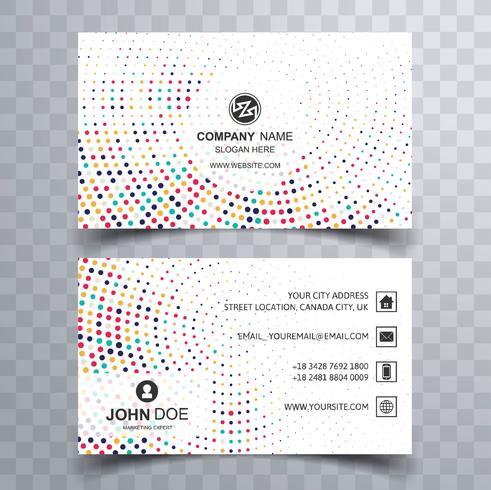 Abstract kleurrijk gestippeld visitekaartje sjabloonontwerp