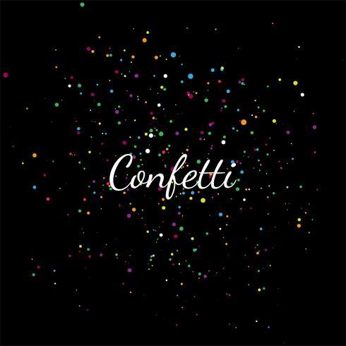 Abstrakter bunter Confetti auf einer schwarzen Hintergrundillustration