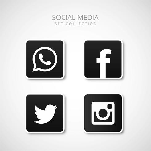 Ícones de mídia social moderna definir ilustração vetorial