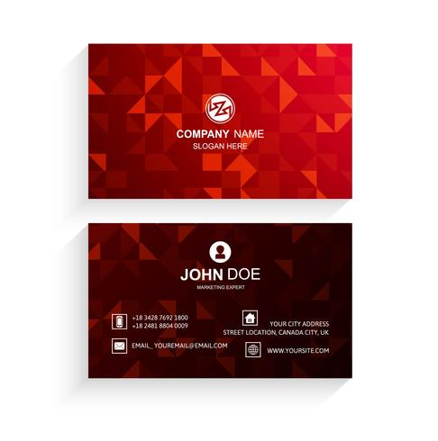 Abstraktes rotes Visitenkarteschablonen-Vektordesign