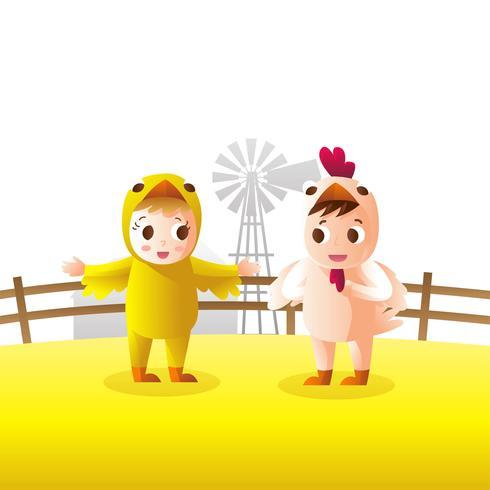 niños disfrazados de pollo