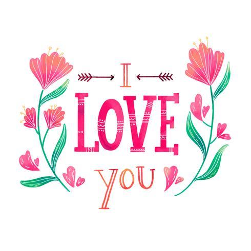 Nette Beschriftung über Liebe mit Blumen herum