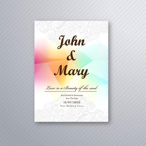 Design de modelo de cartão de casamento colorido lindo