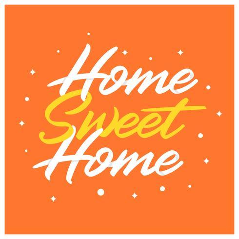 Casa de lar doce plana Lettering arte com mão desenhada estilo ilustração vetorial