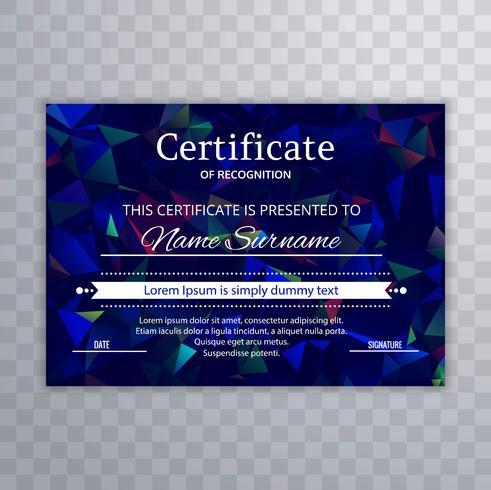 Modello di certificato con design colorato poligono vettore