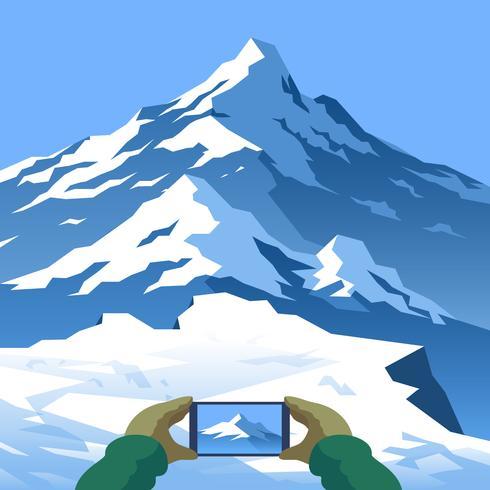 Nehmen Sie ein Bild Berglandschaft erste Person Vektor