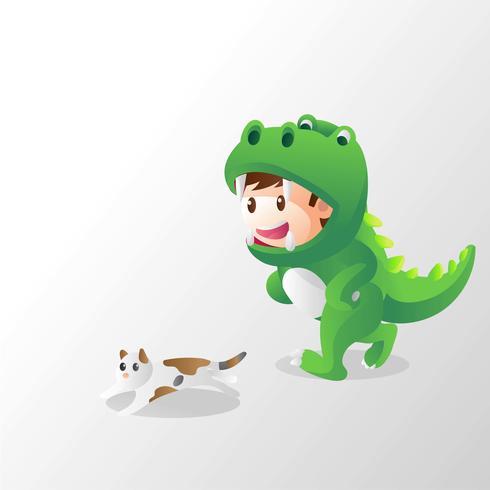 barn i dinosaurisk kostym