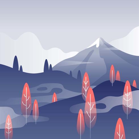 Mountain Landscape First Person Autumn Vector