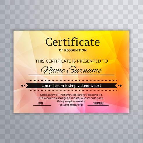 Schönes Zertifikat der Anerkennungsschablone buntes backgrou