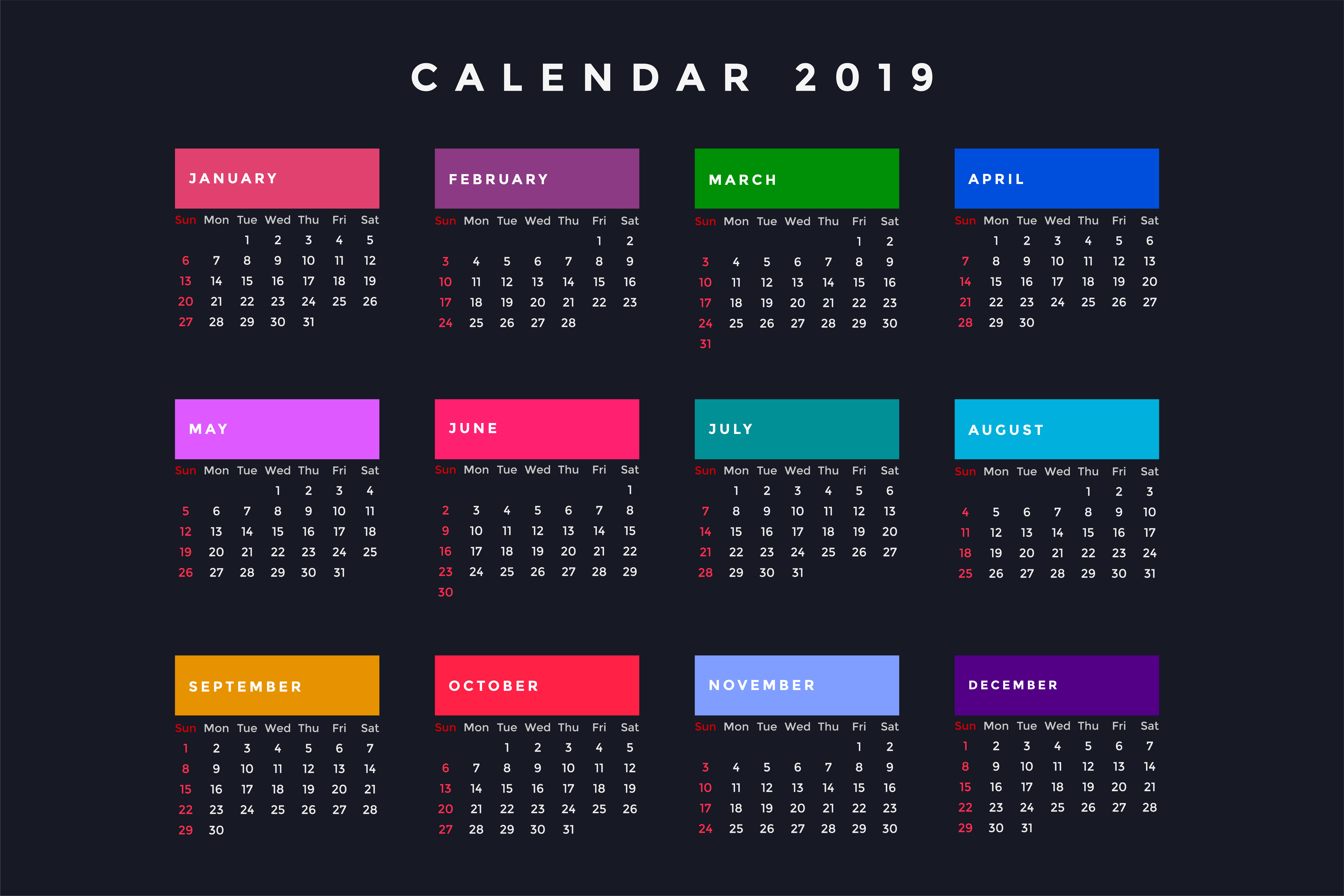 dark new year calendar for 2019 - Download Free Vector Art ...
