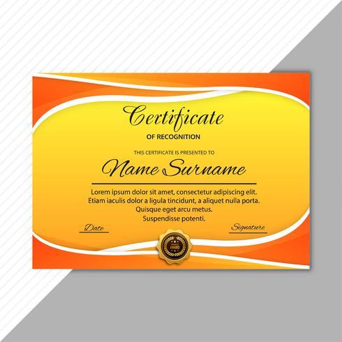 Modèle de certificat certificat fond coloré vague