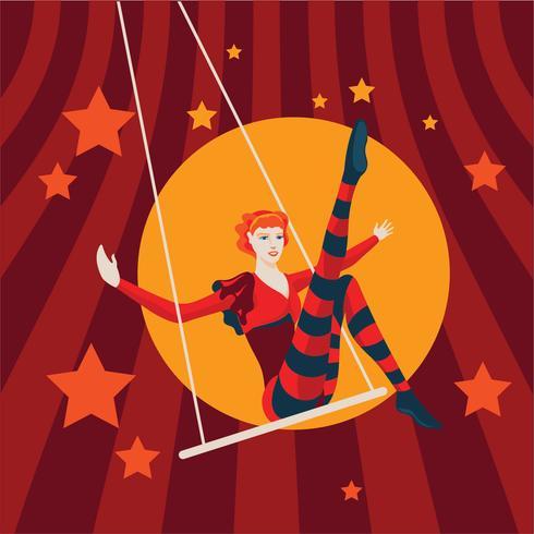 Vintage illustratie van mooie Trapeze-artiest