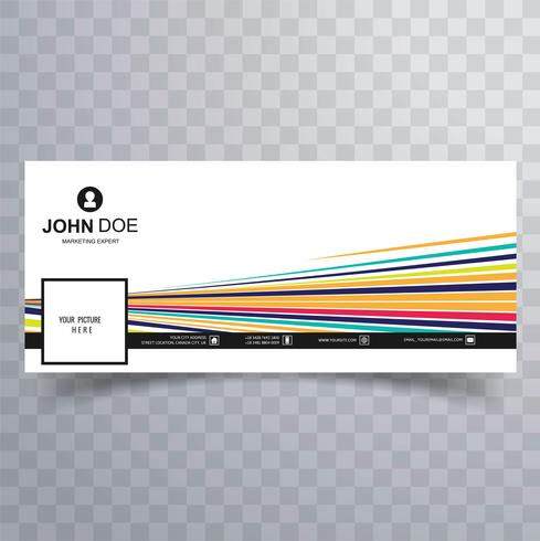 Linha colorida bonita facebook design de modelo de cronograma vetor