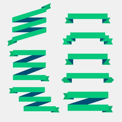 Satz grüne flache Bänder