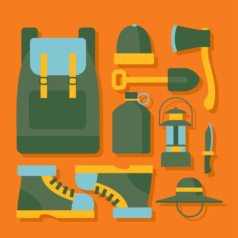 Camping Supplies Knolling hoek Vector